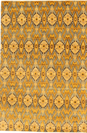 Tribal 5X8 Blue and Gold Wool Area Rug