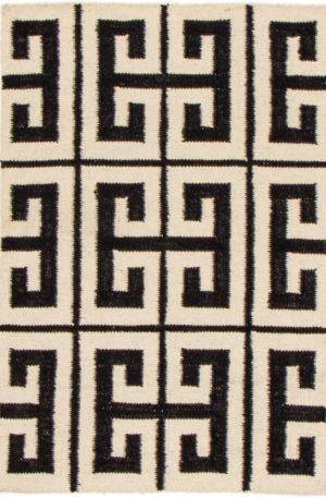 Contemporary 2X3 Black Wool Area Rug