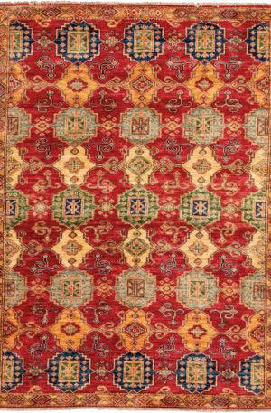 Pakistan Kazak 4X6 Red Wool Area Rug