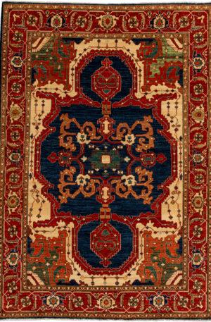 Afghan Faryab 6X9 Blue Red Wool Area Rug