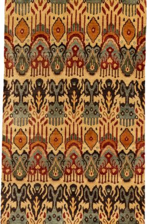 Ikat 5X8 Ivory Wool Area Rug