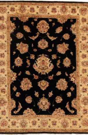 Chobi Design 4X6 Black Beige Wool Area Rug