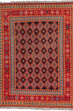Afghan Soumak 4X6 Blue Red Wool Area Rug