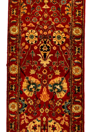 Traditional Runner Red Wool Area Rug
