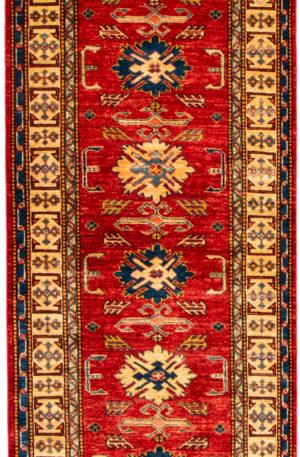 Pakistan Kazak Runner Red Wool Area Rug