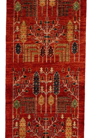 Afghan Runner Red Wool Area Rug