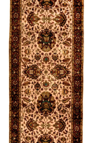 India Tabriz Runner Ivory Red Wool Area Rug