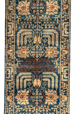 Afghan Aryana Runner Blue Wool Area Rug
