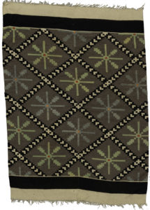Mexican Flatweave 4X6 Grey Green Wool Area Rug