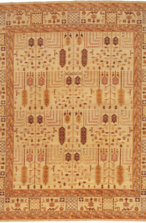 Afghan Aryana 8X10 Ivory Wool Area Rug