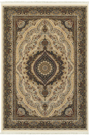 Machine Made 5X8 Ivory Synthetic Area Rug