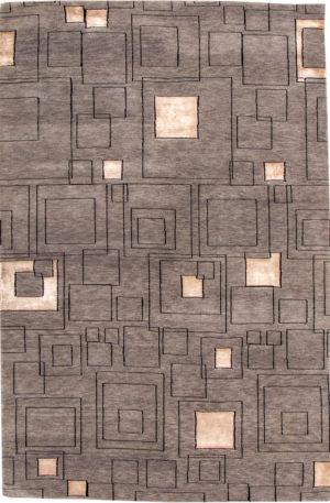 Contemporary 5X8 Gray and Black Area Rug