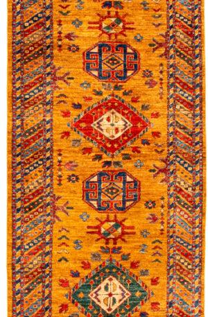 Afghanistan Kazak Runner Gold Wool Area Rug