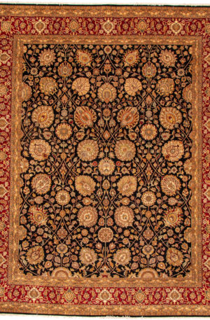 India Tabriz 8X10 Black and Red Wool Area Rug