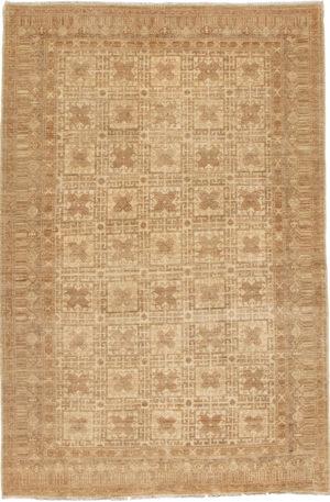 Afghan Khotan 6X9 Ivory Wool Area Rug