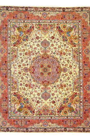 Persian Tabriz 10X14 Beige Wool Area Rug