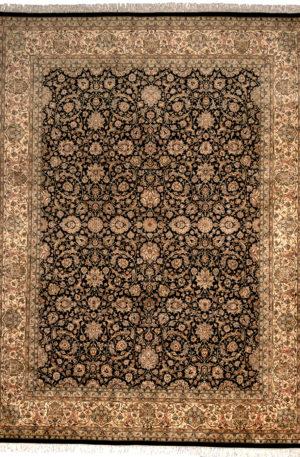 Pakistan Kashan 9X12 Black Wool Area Rug