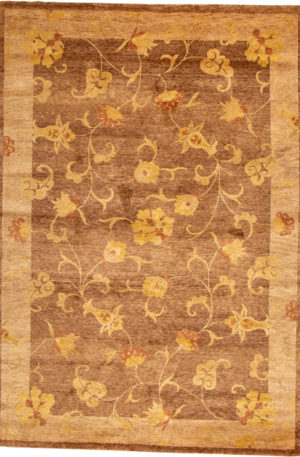 Transitional 5X8 Brown Wool Area Rug