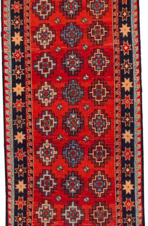 Afghan Flatweave Runner Red Wool Area Rug