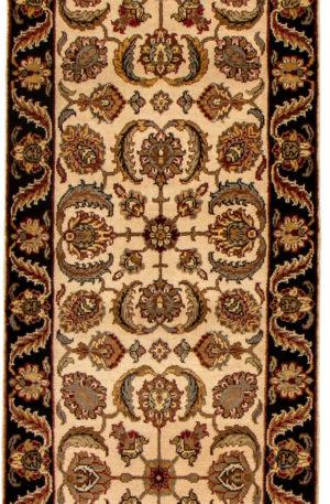 Floral Runner Ivory Black Wool Area Rug