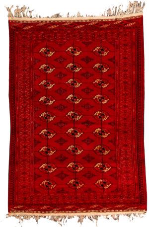 Afghan Tekke 4X6 Red Wool Area Rug
