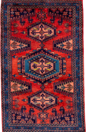 Iran Hamadan 4X6 Red Wool Area Rug