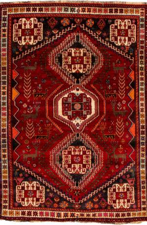 Iran Shiraz 5X8 Red Wool Area Rug