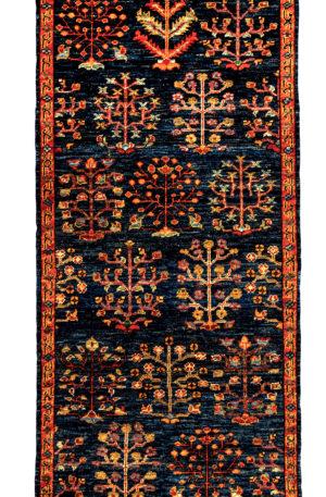 Afghan Runner Blue Red Wool Area Rug
