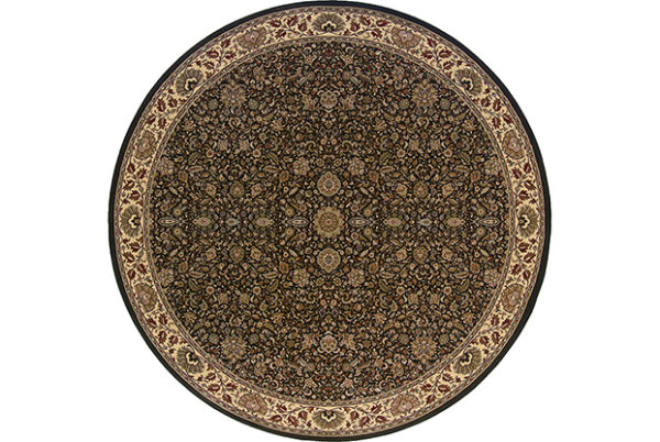 Ari Collection 6' Round Brown Traditional Area Rug