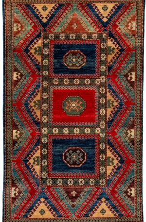 Afghan Faryab 4X6 Multi Color Wool Area Rug