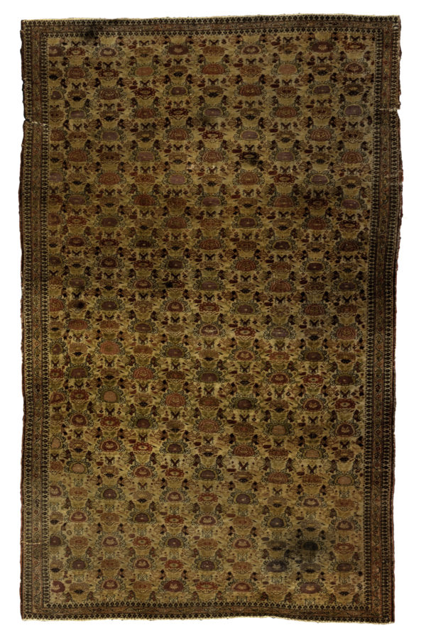 Antique Persian Senneh 4X6 Gold Wool Area Rug