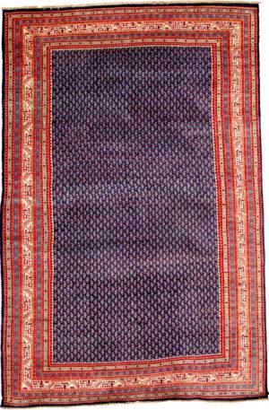 Persian Tabriz 6X9 Blue Ivory Wool Area Rug