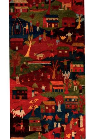 Nepal Gaun Folklife Runner Red Wool Area Rug