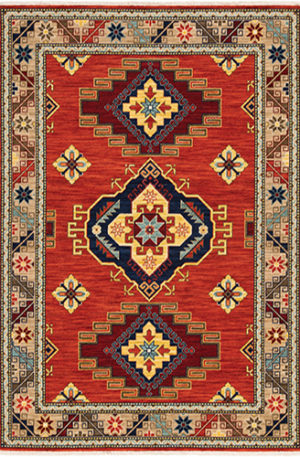 Kemereh Collection 5x8 Red Tribal Area Rug