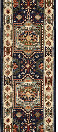 Kemereh Collection Runner Blue Tribal Area Rug