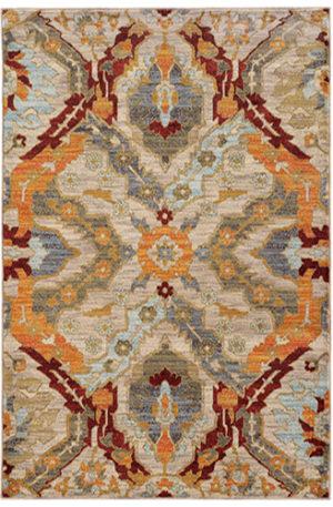 Arizona Collection 5X8 Ivory Synthetic Area Rug