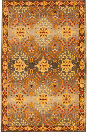 Sovereign 6X9 Green and Brown Wool Area Rug