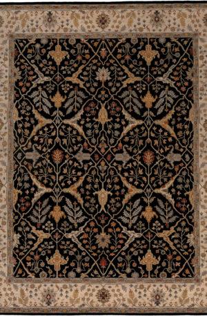India Jal Mahal 8X10 Black Wool Area Rug