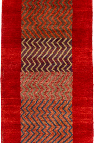 India Gabbeh Runner Red Wool Area Rug
