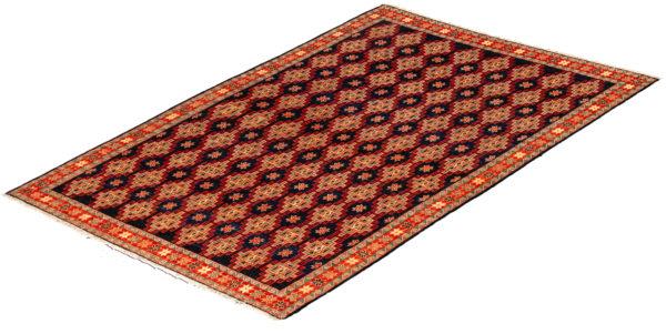 Afghan Larhabi Sum 4X6 Blue Red Wool Area Rug