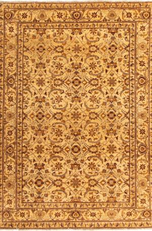 Afghan Floral 4X6 Ivory Wool Area Rug