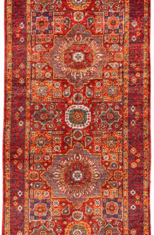 Afghani Mamluck Runner Red Wool Area Rug