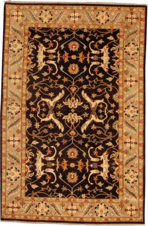 Transitional 5X8 Black Wool Area Rug