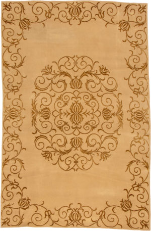 Transitional 5X8 Beige Wool Area Rug