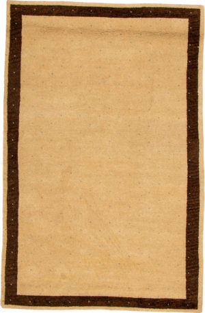 Contemporary 5X8 Beige Wool Area Rug
