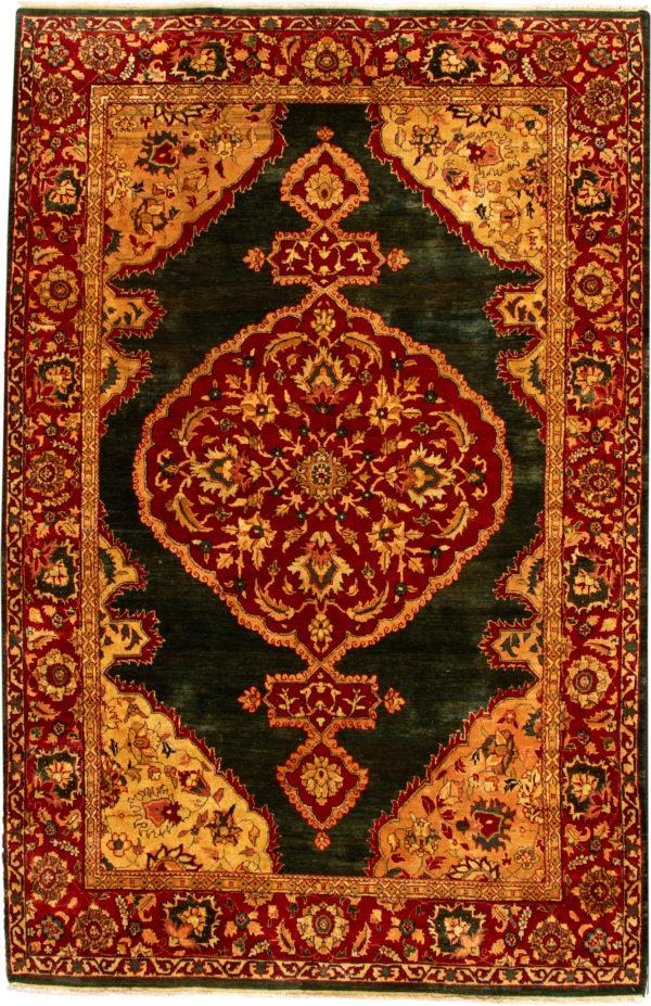 Traditional 6X9 Green Wool Area Rug