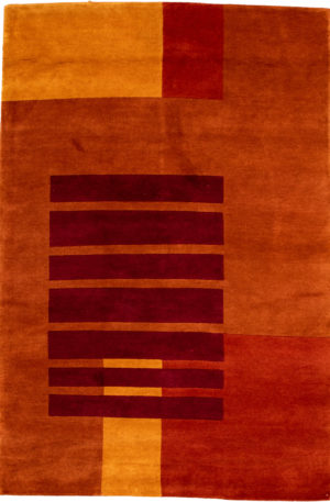 Contemporary 5X8 Orange Wool Area Rug