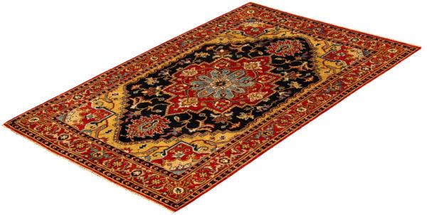 Azerbaijan Collection 6X9 Black Wool Area Rug