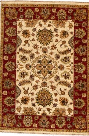 Indo Chobi 5X8 Beige Wool Area Rug