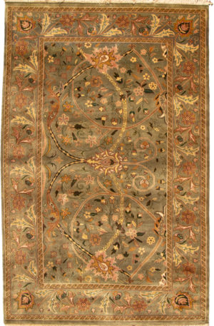Floral 6X9 Green Wool Area Rug